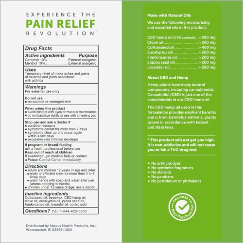 CBD Medic Arthritis Ointment Facts