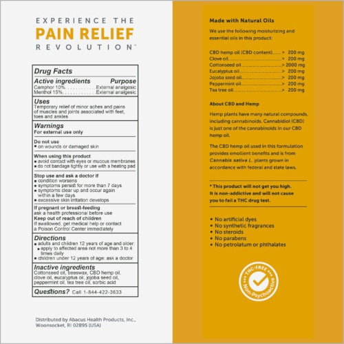CBD Medic Foot and Ankle Pain Relief Ointment Facts