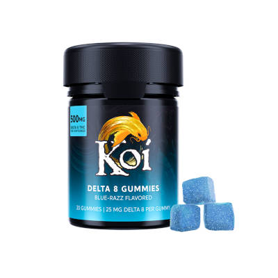Koi D8 Gummies 25mg 20ct Blue-Razz